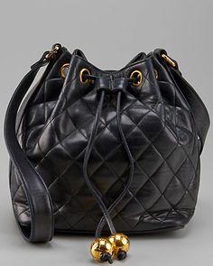 Chanel Black Caviar Leather CC Drawstring Tote