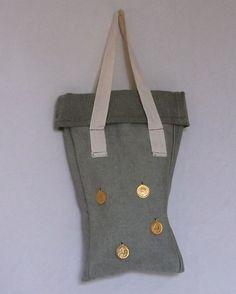 Green Denim Bag Tote Bag with White by AtelierRaniera #bag #green #denim #forher #christmas #gift #fashion