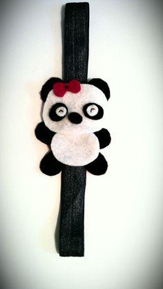 panda bear elastic headband, adorable!!!