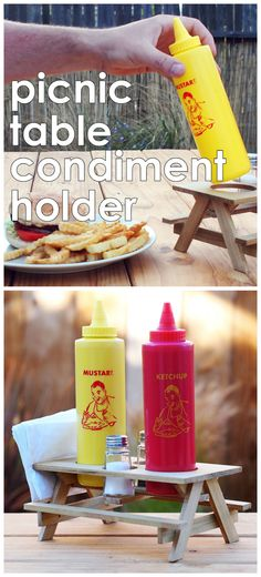Picnic table condiment holder #woodworking #outdoors #summer #BBQ