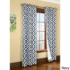 Trellis Printed Thermalogic Insulated Curtain Panel (80x95 Navy), Blue, Size 80 x 95 (Cotton, Geometric)
