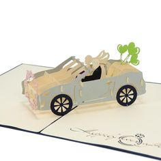 Wedding Car 3D Cards, Wedding Pop Up  Invitations, Custom wedding card