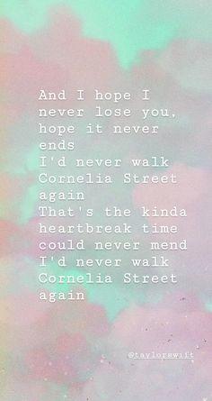 Wallpaper Cornelia Street-Lover by Taylor Swift All Taylor Swift Songs, Taylor Swift Lyric Quotes, Taylor Lyrics, Taylor Swift Pictures, Taylor Alison Swift, Song Memes, Song Quotes, Cool Lyrics, Music Lyrics