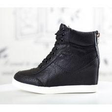 basket femme montante city noir cuir uni high top sneakers fashion mode 2012 2013 ref47.jpg