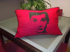 DIY Audrey Hepburn pillow... could do this in white and black or vice versa?
