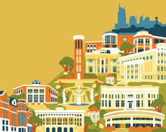 that's my school! belmont university campus illustration by michele rosenthal