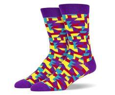 Purple Yellow Red Blue Tetris Socks
