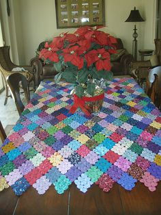 Colorful YoYo tablecloth.