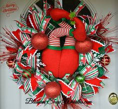 Christmas Wreath, Deco Mesh Wreath, Elf Butt Wreath, Elf Wreath, Door Wreath, Holiday Wreath, Christmas Decor, Red Green Wreath by BlossomShopWreaths on Etsy
