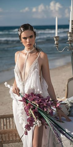 meital zano wedding dresses sexy deep v neckline beach with choker sequins ivory Wedding Dresses 2018, Bridal Dresses, How To Dress For A Wedding, A Line Bridal Gowns, Glamour, Wedding Styles, Marie, Wedding Bride, Wedding Attire