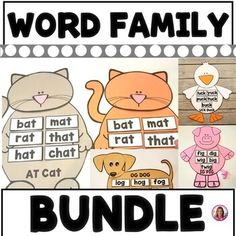 BUNDLE! Word Family and Vowel Teams (Crafts... by Crystal McGinnis | Teachers Pay Teachers Bat Mat, Phonics Rules, Word Work Activities, Rhyming Words, Word Families, Interactive Notebooks, Literacy Centers, Task Cards, Friday Fun