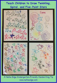 "Kindergartners are so proud when they learn to make twinkling, spiral, and five-point stars! The SPIRAL STAR teaches the concept of continuous motion. The TWINKLING STAR teaches the lift-the-pen motion. The FIVE-POINT STAR teaches diagonal and horizontal lines, and develops perceptual integration. This introduces ""Kindergarten-Friendly Handwriting"" program as seen in https://onlineseminars.nellieedge.com/, Nellie Edge Online Seminar # 2 with FREE and COMPLETE resources."
