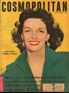 Cosmopolitan magazine, OCTOBER 1954 Jane Russell on cover.
