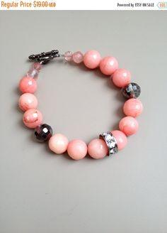 Pink Agate and Crystal Bracelet - Pink Bracelet - Pink Gemstone Bracelet - Statement Bracelet - Custom Jewelry Bracelet - Blush Bracelet