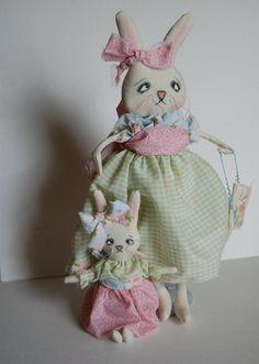 Mommy & Me Primitive Folk  Art Raggedy  Easter by OCRPrimitiveArts, $75.00