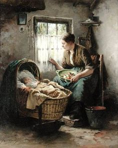 Johannes Weiland (Dutch, 1856-1909) - Mother and child in an interior