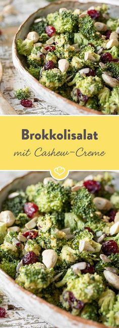 Brokkoli schmeckt nicht nur aus dem Topf, sondern auch als Salat unwiderstehlich gut. In Kombination mit Cranberries und einer Cashew-Creme ein Gedicht!