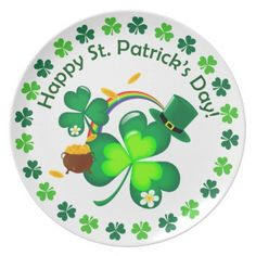 Happy St. Patrick's Day Melamine Plate - st patricks day gifts Saint Patrick's Day Saint Patrick Ireland irish holiday party