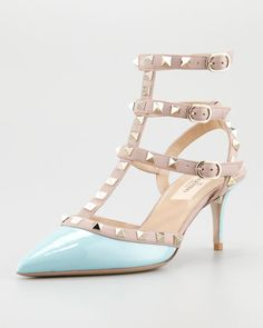 Valentino  Rockstud Two-Tone Pointed Toe Pump, Turquoise