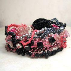 Free Form Pink Black Beadwork Bracelet Freeform Peyote Button Clasp Beadweaving Seed Beads  'At the Bijou'. #beadwork via Etsy.