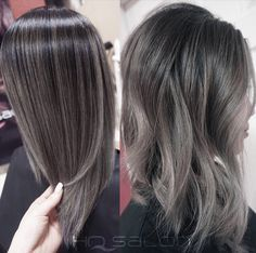gray silver black hair color melt, nice for transitioning ladies
