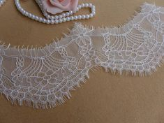 WHITE Chantilly Lace with Scalloped edge For by prettylaceshop