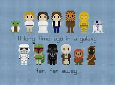 This pattern features Star Wars characters Yoda Luke Leia Han Chewbacca Darth Vader Boba Fett a Stormtrooper a Jawa Wicket Ewok, Chewbacca, Beaded Cross Stitch, Modern Cross Stitch, Cross Stitch Embroidery, Star Wars Set, Star Wars Party, Boba Fett, Dmc Embroidery Floss