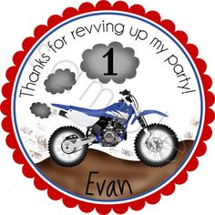 Motocross Dirt Bike Personalized Stickers Party by partyINK, $6.00