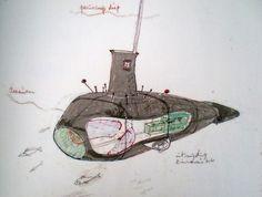 Submarine sketch by Panamarenko