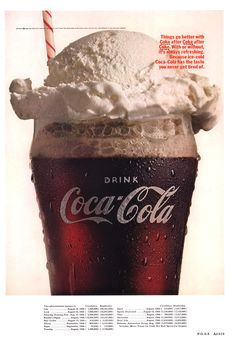 (coke code 149) 최고의 여름 디저트는? 바로, Coke Float!! 시원한 코카-콜라에 아이스크림 한 수굽이면 여름 디저트 완성! 짠~ 1966년 Coke Float 프린트 광고입니다! 바로 만들어봐야 겠어요 :)