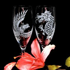 Phoenix and Dragon Wedding Toasting Flutes, Crystal Champagne Flutes, Chinese Wedding