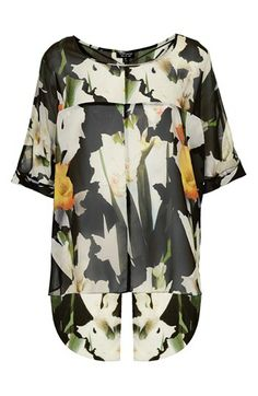 Topshop 'Iris Collage' Print Split Back Chiffon Top | Nordstrom