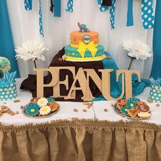 Our Little Peanut baby shower party dessert table! See more party planning ideas at CatchMyParty.com!