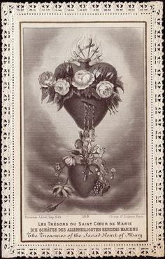Les Trésors du Saint Cøeur de Marie card love this for backdrop too Vintage Holy Cards, Vintage Postcards, Catholic Art, Religious Art, Roman Catholic, Jesus E Maria, Religious Pictures, Blessed Mother Mary, Spiritus