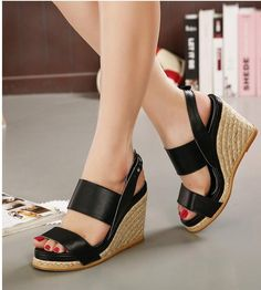 e11e1e4d8d Summer Waterproof Sexy Wedge Fashion Slope Straw Solid Color Sandal Shoes.  LoLuxe