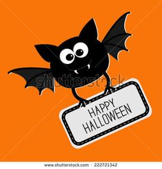 Cute Halloween Bats | Cute bat with plate Happy Halloween card. Flat design. Vector illustration - stock vector