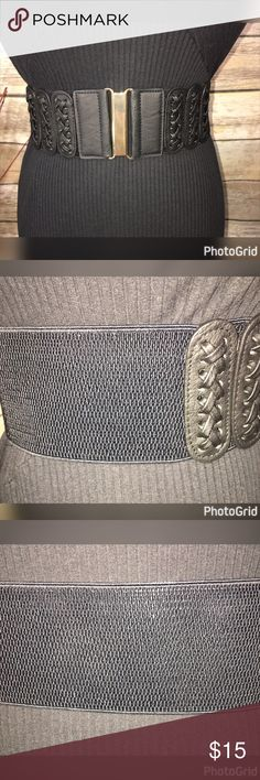 """BRAND NEW PLUS SIZE ELASTIC BELT 2X, 3X! 3""""WIDE THIS BELT IS BRAND NEW WITH TAGS AND IS PERFECT FOR ANY DRESS, TUNIC OR SWEATER! THIS IS A PLUS SIZE BELT.  MEASUREMENTS WIDE 3"""" 2X-35""""-5' 3X-39""""-5'4""""  THE BELT IS BLACK WITH 2 BRAIDS ON EACH SIDE AND GOLD HOOK IN FRONT WITH ELASTIC BELT! GREAT TO HIDE A LITTLE BULGE AND HELP CREATE AN HOUR GLASS FIGURE!!  WILL SELL OUT FAST! Rainbow Accessories Belts"""