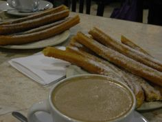 Churros & Hot chocolate from El Moro, a tradition in Mexico city and the oldest churreria in town. Conveniently open 24 hours a day to sit down and load up on many many forms of sugary deliciousness