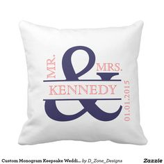 Shop Custom Monogram Keepsake Wedding Pillow created by D_Zone_Designs. Personalize it with photos & text or purchase as is! Ultimate Wedding Gifts, Unique Wedding Gifts, Wedding Keepsakes, Wedding Decor, Wedding Ideas, Gray Bedroom, Trendy Bedroom, Bedroom Office, Red Throw Pillows