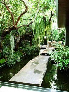 Tranquility of this beautiful water garden.What Lies Behind the High Concrete Wa… Tranquility of this beautiful water garden.What Lies Behind … Ponds Backyard, Backyard Patio, Backyard Landscaping, Backyard Ideas, Garden Ideas, Backyard Shade, Patio Ideas, Garden Shade, Koi Ponds