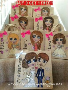 Looking for impressive keepsake wedding bridesmaids pressie?    Get 4 bridesmaid for the price of 3 ❤️❤️    If you would like to have a unique hand bag or shopping bag then our personalised jute bag is for you! I will design to your personal specifications. Each bag is hand drawn and painted then embellished with bows and glitter.     I enjoy creating and designing. Each bag takes hours not minutes to make. I only use quality paint and then varnish seal to make sure the color will last…