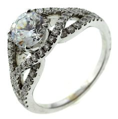 5.1 Gram 18kt White Gold Ring With Colorless Stone And Diamond Accents