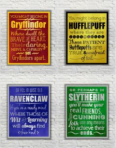 Harry Potter Typography Quote The Four Hogwarts by FanFaires