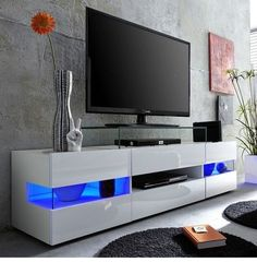 Living Room Modern Tv Unit Inspirational Kirsten Tv Stand In White with Gloss Fronts and Led Large Tv Stands, White Tv Stands, Wooden Tv Stands, Lcd Tv Stand, Swivel Tv Stand, Living Room Tv, Living Room Modern, Tv Stand Ideas For Living Room, Tv Stand With Led Lights
