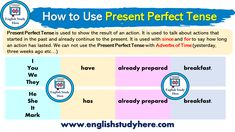 How to Use Present Perfect Tense - English Study Here English Grammar Notes, Tenses English, English Language Learning, Teaching English, Handwriting Classes, Handwriting Analysis, Nice Handwriting, Handwriting Worksheets, Writing Test