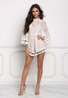 d6976eb92d3 Blush Patterned Lace Tassel Cut Out Romper - Boutique Culture