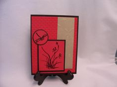 handmade card by RDey  .... Asian theme ... red with black ink and mats and a panel with gold embossing ... Asian Artistry ...