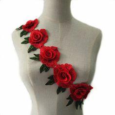 1 ярд 3D красный цветок африканских Кружево Ткань Скрапбукинг Блёстки высокое качество блесток Ткань для платья NL213