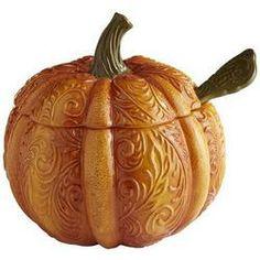 Orange Pumpkin Tureen with Ladle