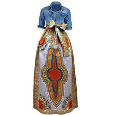 Dashiki African Print Maxi Skirt (Grey)